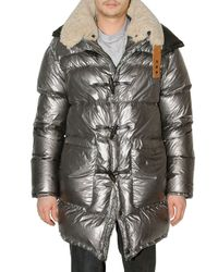 Paul Smith | Gray Fur Collar Aluminium Down Jacket for Men | Lyst