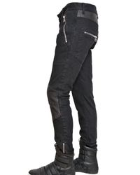 Balmain | Black 17cm Nappa Inserts Biker Jeans for Men | Lyst