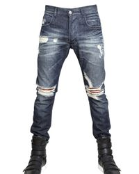 Balmain | Blue 17cm Destroyed Denim Skinny Fit Jeans for Men | Lyst