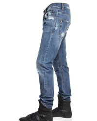 Balmain - Blue 17cm Distressed Denim Skinny Fit Jeans for Men - Lyst