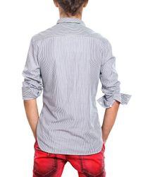 Balmain - Blue Logo Plaque Striped Poplin Shirt for Men - Lyst