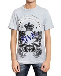 Balmain - Gray Printed Melange Jersey T-shirt for Men - Lyst