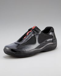 Prada | Black Patent Leather Sneaker | Lyst