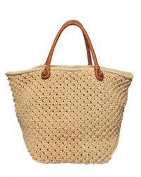 Ralph Lauren - Natural Woven Cotton Crochet Tote - Lyst