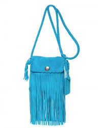 Ralph Lauren - Blue Suede Fringe Shoulder Bag - Lyst