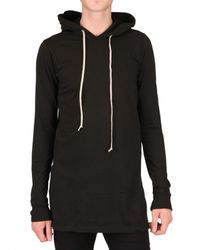 Rick Owens | Black Hooded Jersey T-shirt for Men | Lyst