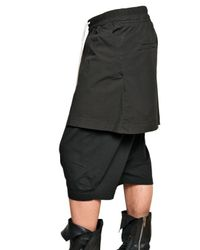 Rick Owens | Black Poplin Skirt and Jersey Shorts for Men | Lyst