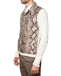 Roberto Cavalli | Natural Desert Snake Skin Cotton Knit Sweater for Men | Lyst