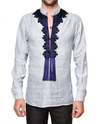 Roberto Cavalli | White Front Embroidery Striped Poplin Shirt for Men | Lyst