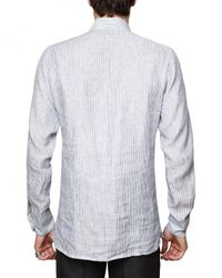 Roberto Cavalli - White Front Embroidery Striped Poplin Shirt for Men - Lyst