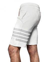 Thom Browne - White Cotton Fleece Striped Shorts for Men - Lyst