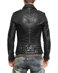 Tom Rebl | Black Tumbled Biker Leather Jacket for Men | Lyst