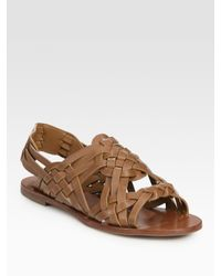 Tory Burch | Brown Killian Interwoven Leather Sandals | Lyst