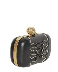 Alexander McQueen - Black Leather Corset Skull Box Clutch - Lyst