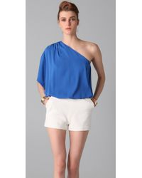 Alice + Olivia - Blue Lola One Shoulder Top - Lyst