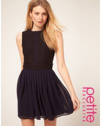 ASOS Collection | Blue Asos Petite Exclusive Dress with Chiffon Mini Skirt and Zip Back | Lyst