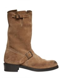 Balmain | Natural Double Belted Suede Boots for Men | Lyst