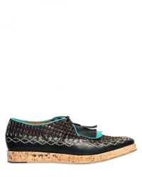 Burberry Prorsum | Black Fringed Stitched Calfskin Lace-up Shoes for Men | Lyst