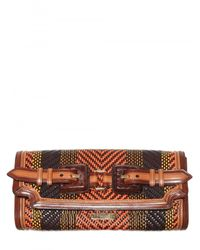 Burberry Prorsum | Brown Woven Leather Clutch | Lyst