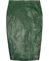 By Malene Birger | Green Zipped Nappa Leather Pencil Skirt | Lyst