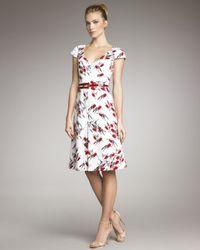 Carolina Herrera | White Sparrow-print V-neck Dress | Lyst