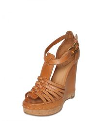 Chloé | Brown 100mm Leather T-bar Sandal Wedges | Lyst