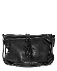 De Couture | Black Cracked Shiny Lambskin Shoulder Bag | Lyst