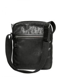 Dior Homme | Black Logo Jacquard Waxed Canvas Bag for Men | Lyst