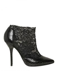 Dolce & Gabbana | Black 110mm Python & Lace Pointy Low Boots | Lyst