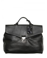 Dolce & Gabbana | Black Hammered Leather Briefcase Bag for Men | Lyst