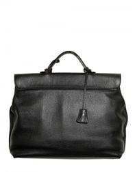 Dolce & Gabbana - Black Hammered Leather Briefcase Bag for Men - Lyst