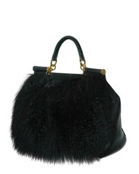 Dolce & Gabbana - Black Miss Sicily Mongolia Fur Top Handle - Lyst