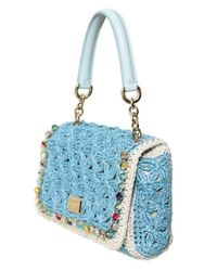 Dolce & Gabbana - Blue Miss Charles Crochet Top Handle - Lyst