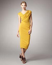 Donna Karan | Yellow Ruched Jersey Capsleeve Dress | Lyst