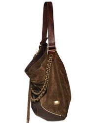 DSquared² | Brown Suede & Leather Zipped Shoulder Bag | Lyst