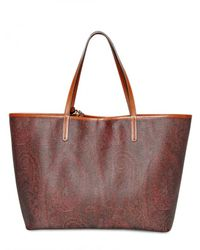 Etro - Brown Multicolor Studded Grainy Jacquard Tote - Lyst