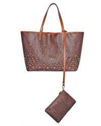 Etro | Brown Multicolor Studded Grainy Jacquard Tote | Lyst