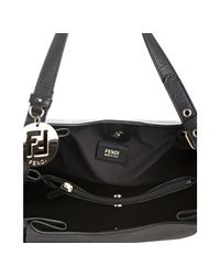 Fendi | Black Zucchino Spalmati Leather Trimmed Shoulder Bag | Lyst