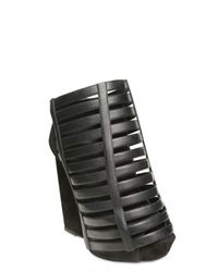 Gareth Pugh - Black 120mm Suede and Leather Wedges - Lyst