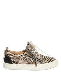 Giuseppe Zanotti | Natural Python Print Zip Sneaker | Lyst