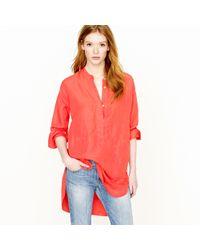 J.Crew | Red Silk-Linen Henley Tunic | Lyst