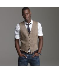 J.Crew | Brown Linen Herringbone Suit Vest for Men | Lyst