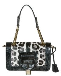 Jimmy Choo | Black Printed Ponyskin Shoulder Bag | Lyst