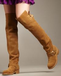 Jimmy Choo - Brown Flat Suede Over-the-knee Boot - Lyst