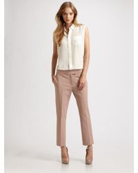 JOSEPH | Natural Queen Gabardine Cropped Stretch Pants | Lyst