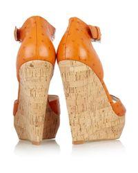 MICHAEL Michael Kors   Orange Ariana Ostrich-effect Leather Wedge Sandals   Lyst