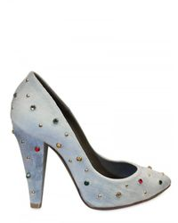 Mulberry | Blue 100mm Gems On Washed Denim Pumps | Lyst