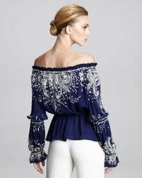 Naeem Khan | Blue Off-the-shoulder Embroidered Peasant Blouse | Lyst