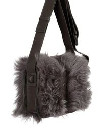 Natalia Brilli | Gray Small Sheep Fur Shoulder Bag | Lyst