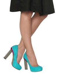 Nicholas Kirkwood | Blue 120mm Suede Checked Heel Pumps | Lyst